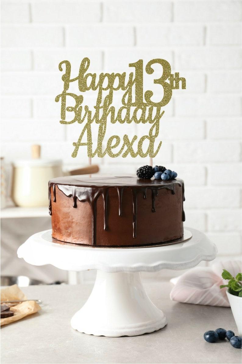 ANY NAME Happy Birthday Cake Topper 13th