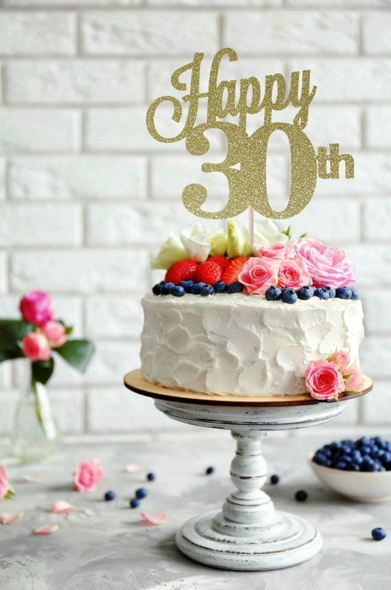 Gold Glitter Hello 30 30th Birthday//Wedding Anniversary Party Decoration 30 /& Fabulous Cake Topper Dirty Thirty Cake Topper