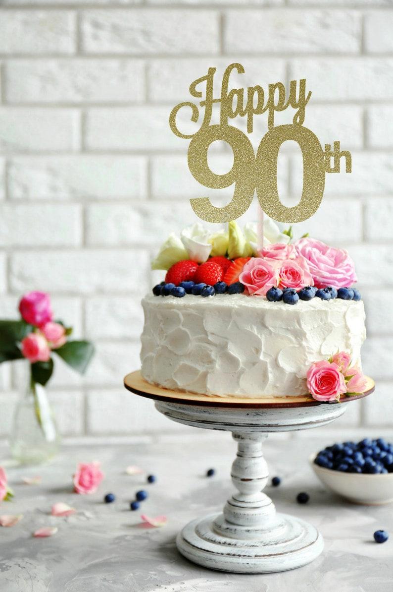 ANY AGE 90th Birthday Cake Topper Happy