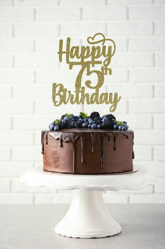 Tremendous Happy 75Th Birthday Cake Topper Birthday Cake Topper Custom Etsy Funny Birthday Cards Online Elaedamsfinfo