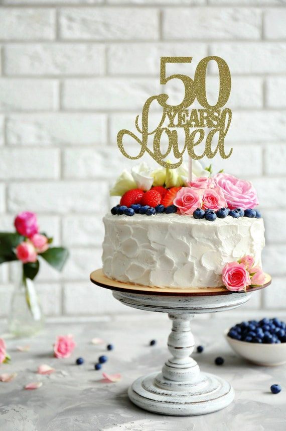 Tremendous 50 Years Loved Cake Topper Birthday Cake Topper 50Th Etsy Funny Birthday Cards Online Eattedamsfinfo
