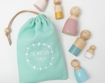 Peg Doll Family Personalised Peg Dolls - Customised Peg People - New Baby Gift - Mothers Day Gift - Gender Reveal Prop