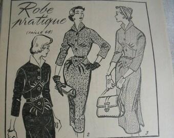 1954 s french Women's 3 Dress Patterns, Embroidery, Crochet Patterns. Women today Magazine, french Retro Dress Patterns