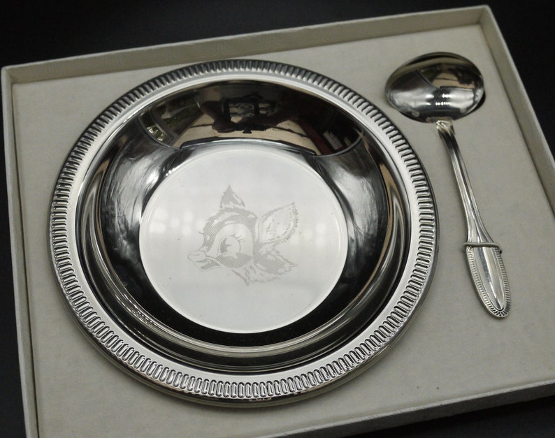 French Bambi baby Bowl and spoon Jean Couzon Orf\u00e8vre boxed gift
