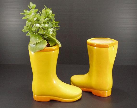 Vintage Boots Planters Yellow Ceramic Rain Boots Flower Vase Etsy
