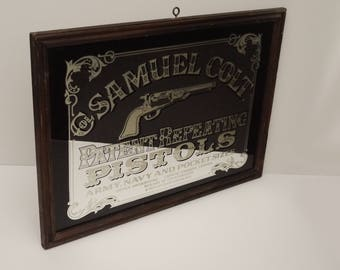 """Vintage Wall Mirror For collar Samuel Colt Patent Repaeting Pistols With Wood Frame 24 """"x 17"""" Circa 1970's"""