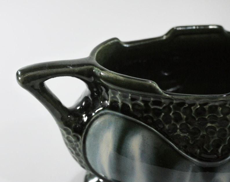 English Art Deco Jardiniere Green Majolica Glazed with Handles