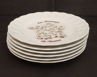 """1970s French Bread & Butter China Plate by Bavaria """"Les Fromages de France"""" Set of 6. French Lover Original Gift"""