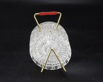 1960s Glass Coasters with Gold Wire Caddy