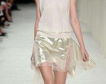 Lamé champagne chiffon Haute Couture