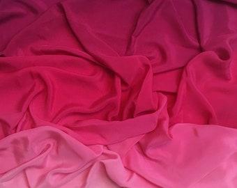 Crêpe de chine silk degraded pink