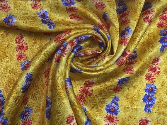 Twill de soie imprimé fleurs Haute Couture 90cm x 100cm   Etsy 2c056076747