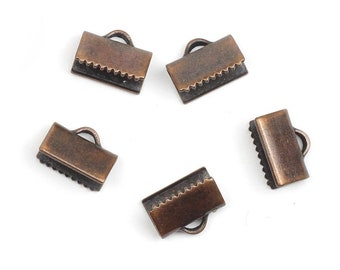 Copper plated brass ribbon semi circle crimp ends 15x30mm with loop findings 1945-275