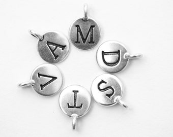 Letter beads, letter Charms, alphabet beads, letter bead, name beads, silver alphabet beads, Silver Fine Plated, Tierracast beads