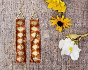 Warm Honey. Seed bead earrings. Fringe earrings. Handmade earrings.