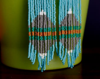 A Reflection. Handwoven Earrings. Seed Bead Earrings. Fringe Earrings.