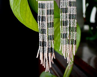 Grandmas Sweater. Handwoven Earrings. Seed Bead Earrings. Fringe Earrings.