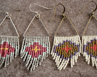 Structural Shorties. Handwoven Earrings. Seed Bead Earrings. Fringe Earrings.