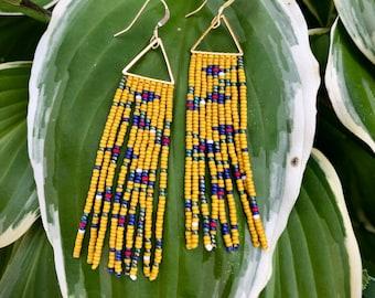 Rosemary Blue. Handwoven earrings. Seed bead earrings.