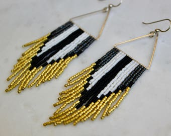 The Wasp.Handwoven Earrings. Seed Bead Earrings. Fringe Earrings. Yellow, black, white and gray dangly earrings.