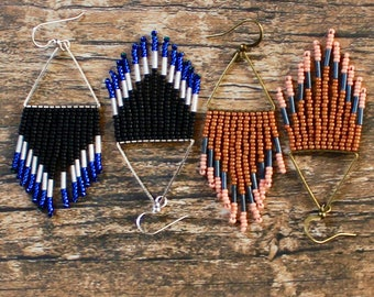 Shorties. Handwoven Earrings. Seed Bead Earrings. Fringe Earrings.