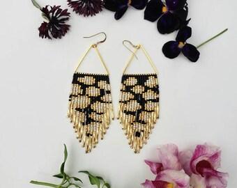 Clouds. Handmade earrings. Seed bead earrings. Fringe earrings.