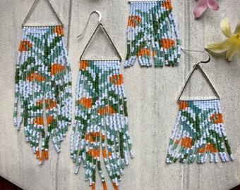 Clementine. Seed bead earrings. Beaded earrings. Fringe earrings.