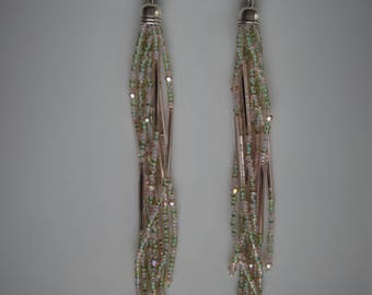 Springtime Sparkles. Handwoven Earrings. Seed Bead Earrings. Fringe Earrings. Tassel Earrings.