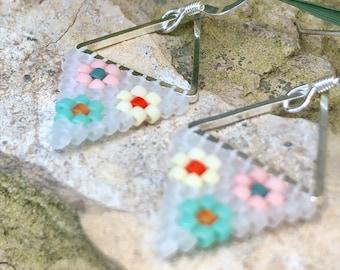 Revival. Handwoven earrings. Beaded earrings. Brick stitch earrings.