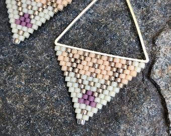 X Marks the Fox. Brick stitch earrings. Handwoven earrings. Beaded earrings.