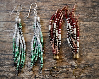 Shortie Tassel. Handwoven Earrings. Seed Bead Earrings. Fringe Earrings.