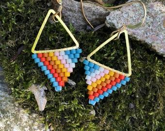 Lil Hawaiian. Seed bead earrings. Brick stitch earrings.