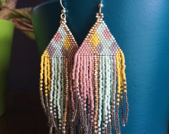 The Betta. Handwoven Earrings. Seed Bead Earrings. Fringe Earrings.