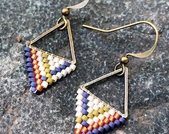 Bittersweet. Seed bead earrings. Brick stitch earrings.