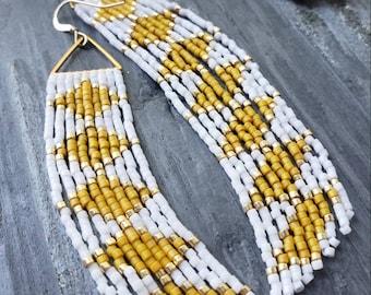 Butter. Handmade earrings. Seed bead earrings. Fringe earrings.