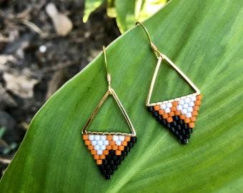 Audrey Horne. Seed bead earrings. Handwoven earrings.