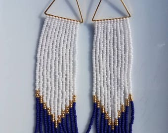 Nautical. Handwoven Earrings. Seed Bead Earrings. Fringe Earrings.