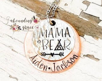 Mixed metal necklace, mama necklace, bear, tribe, kids names, copper and silver, layered necklace, unique mom jewelry, mommy, rustic, momma