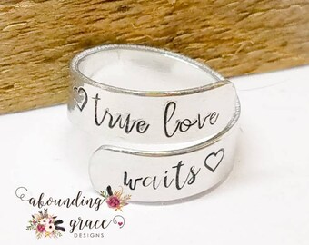True love waits, purity ring, christian ring, personalized ring, abstinence, love ring, girls purity ring, custom purity ring, commitment