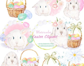 15c531e3bbd9 Watercolor Easter Rabbit Clipart