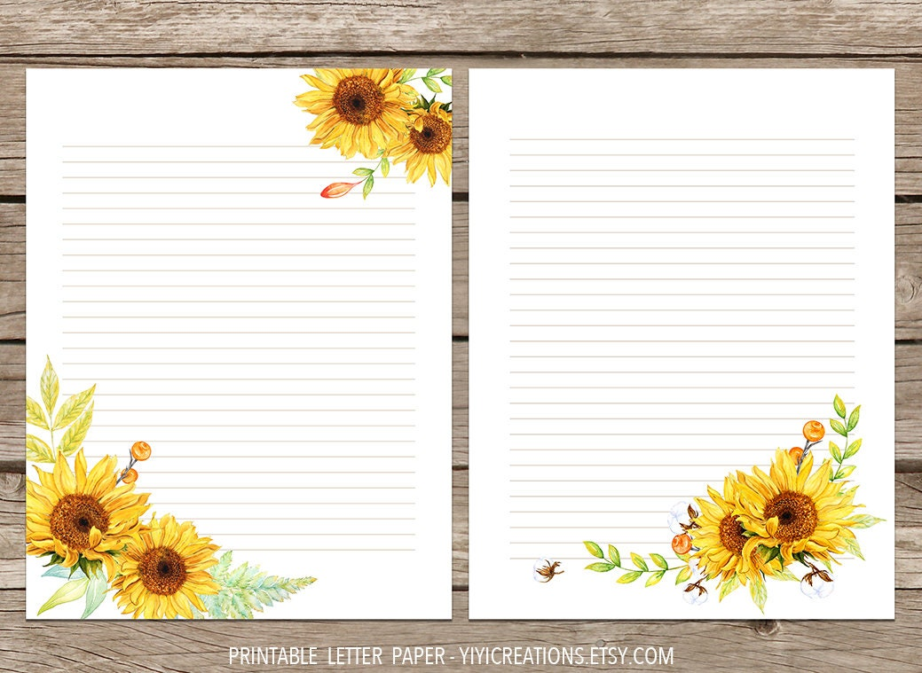 picture regarding Sunflower Printable titled Sunflower Printable Letter Paper, Floral Magazine Website page, Flower Instantaneous Down load Stationery, Electronic Crafting Sheet, Blank Letter Notice 8.5 x 11