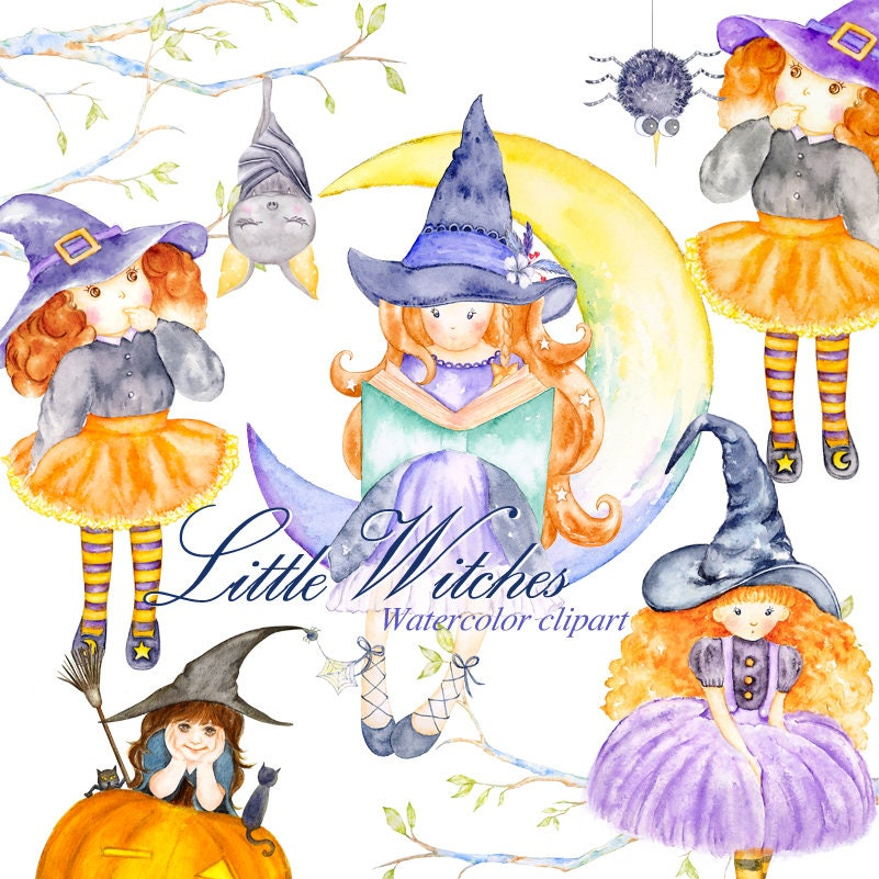 Cute Witch Clipart Watercolor Halloween Illustrations | Etsy