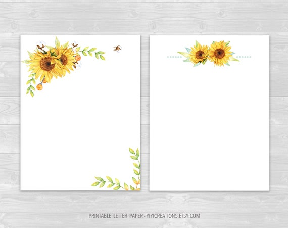 picture regarding Printable Letter Papers referred to as Printable Letter Paper Floral Fixed, Electronic Magazine Paper Obtain, Sunflower Composing Sheet, Protected and Blank Letter, Watercolor Stationery