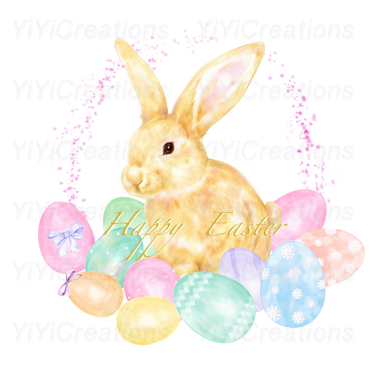 Easter Charm Clipart Spring Watercolor Bunny Painting ...