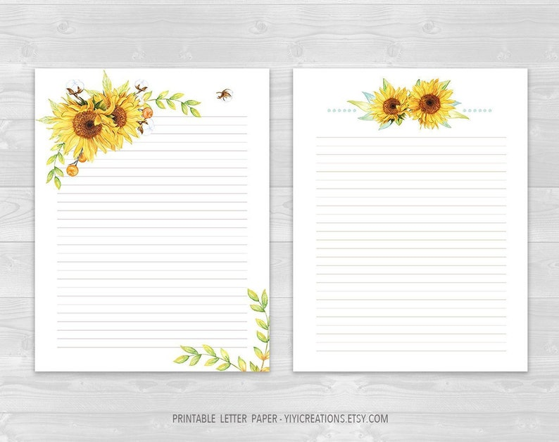 photo relating to Printable Letter Paper called Printable Letter Paper Floral Established, Electronic Magazine Paper Obtain, Sunflower Producing Sheet, Covered and Blank Letter, Watercolor Stationery