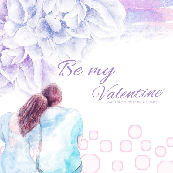 Watercolor Valentine Clipart Cute Couple Clip Art Romantic | Etsy