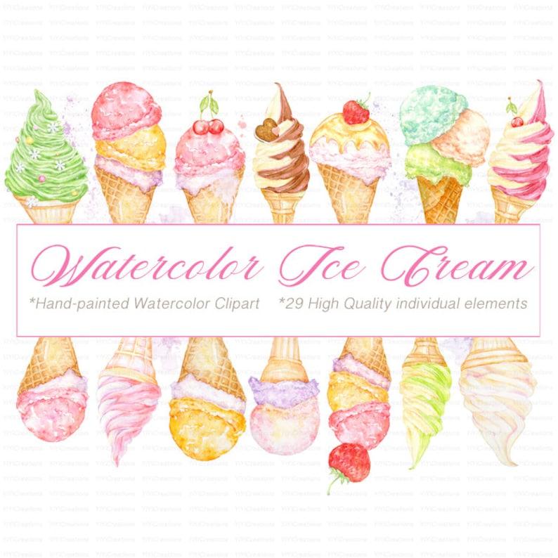 c7d8ac436f6 Watercolor Ice Cream Clipart Summer Treats Illustrations
