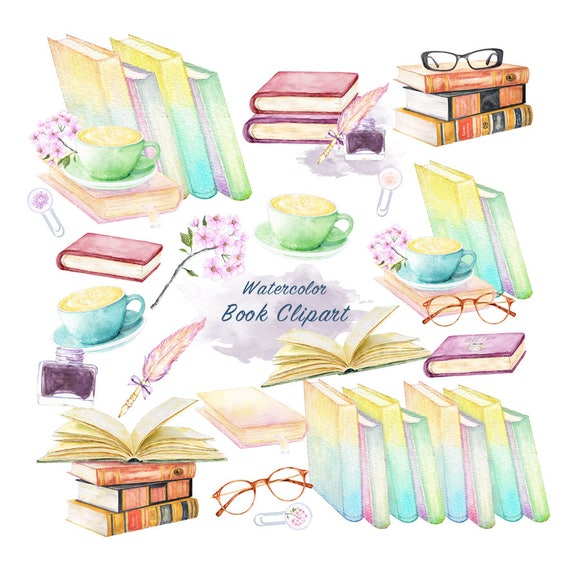 Watercolor books clipart educational items download graduation graphics vintage book illustrations old style literature back to school from