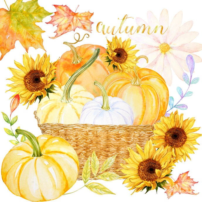 Fall clipart Watercolor Harvest blessings digital download ...
