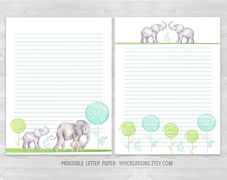 picture regarding Printable Letter Papers identified as Elephant Printable Letter Paper Fixed, Electronic Animal Paper Obtain, Stationery Creating Sheet, Coated and Blank, Hand-painted Watercolor, PDF